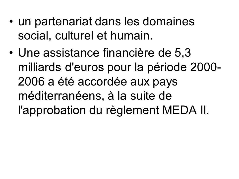 un partenariat dans les domaines social, culturel et humain. Une assistance financière de 5,3 milliards d'euros pour la période 2000- 2006 a été accor