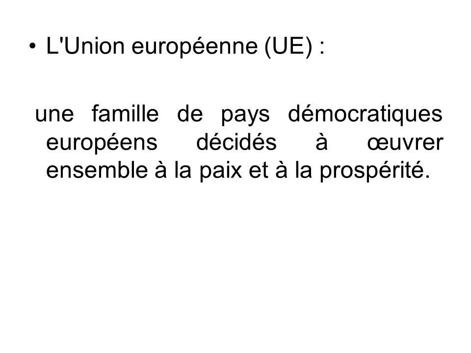 L'Union européenne (UE) : une famille de pays démocratiques européens décidés à œuvrer ensemble à la paix et à la prospérité.