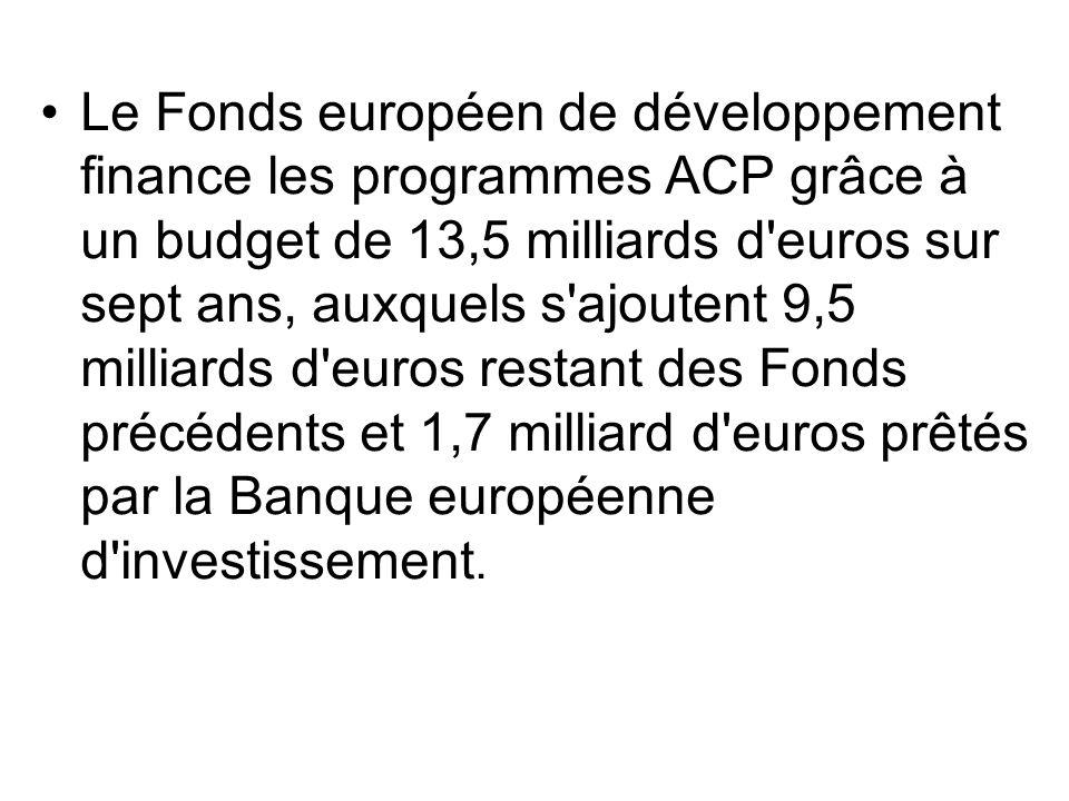 Le Fonds européen de développement finance les programmes ACP grâce à un budget de 13,5 milliards d'euros sur sept ans, auxquels s'ajoutent 9,5 millia