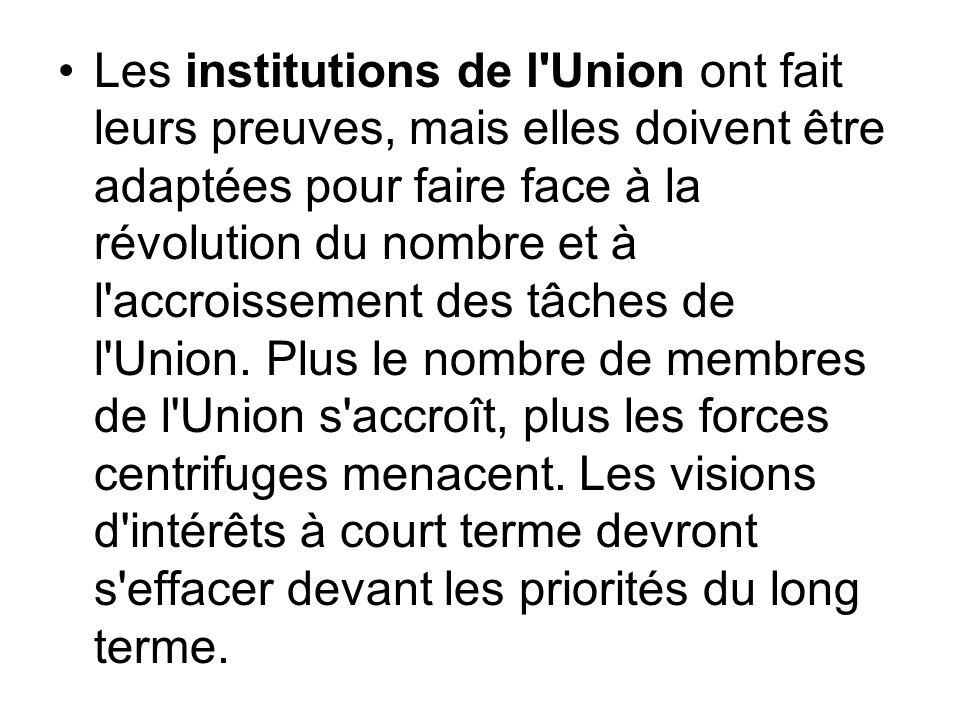 Les institutions de l'Union ont fait leurs preuves, mais elles doivent être adaptées pour faire face à la révolution du nombre et à l'accroissement de