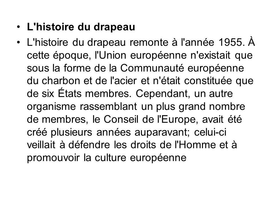 L'histoire du drapeau L'histoire du drapeau remonte à l'année 1955. À cette époque, l'Union européenne n'existait que sous la forme de la Communauté e
