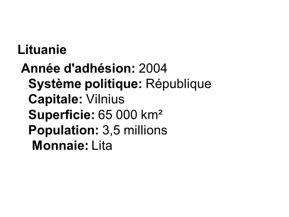 Lituanie Année d'adhésion: 2004 Système politique: République Capitale: Vilnius Superficie: 65 000 km² Population: 3,5 millions Monnaie: Lita