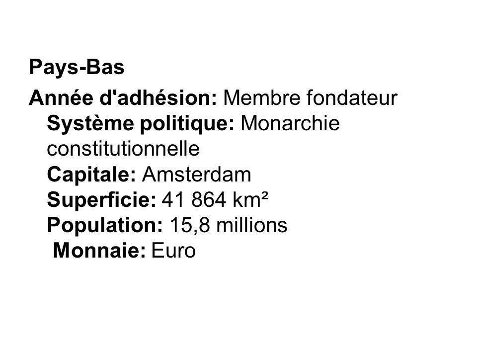 Pays-Bas Année d'adhésion: Membre fondateur Système politique: Monarchie constitutionnelle Capitale: Amsterdam Superficie: 41 864 km² Population: 15,8