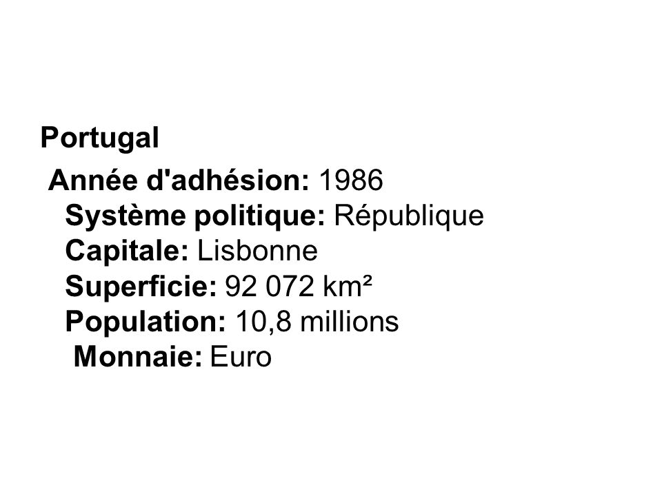 Portugal Année d'adhésion: 1986 Système politique: République Capitale: Lisbonne Superficie: 92 072 km² Population: 10,8 millions Monnaie: Euro
