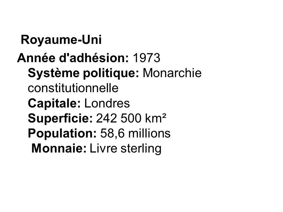 Royaume-Uni Année d'adhésion: 1973 Système politique: Monarchie constitutionnelle Capitale: Londres Superficie: 242 500 km² Population: 58,6 millions