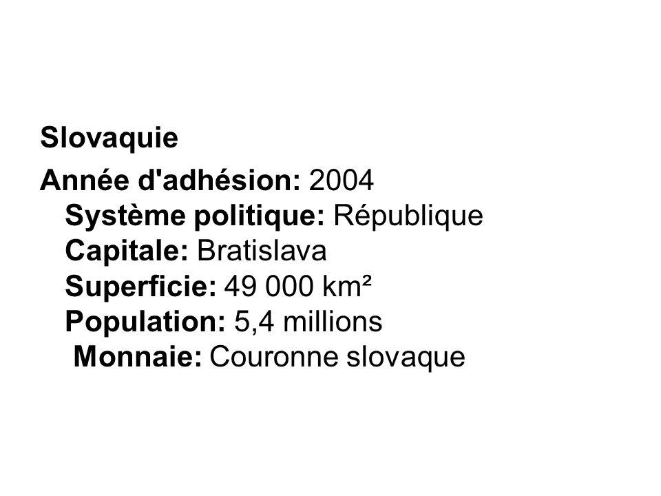 Année d'adhésion: 2004 Système politique: République Capitale: Bratislava Superficie: 49 000 km² Population: 5,4 millions Monnaie: Couronne slovaque