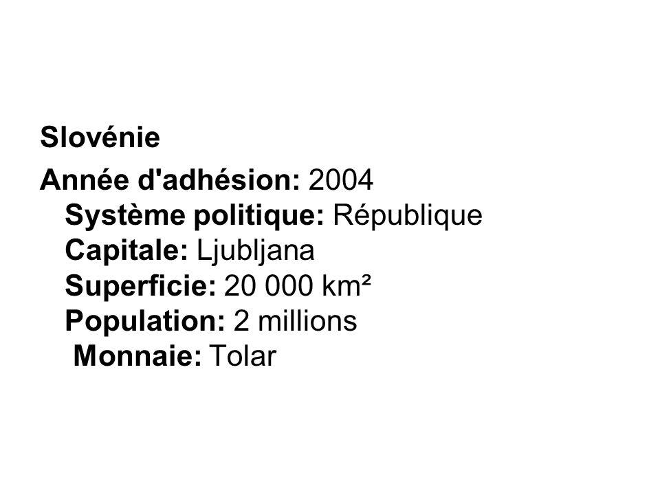 Slovénie Année d'adhésion: 2004 Système politique: République Capitale: Ljubljana Superficie: 20 000 km² Population: 2 millions Monnaie: Tolar