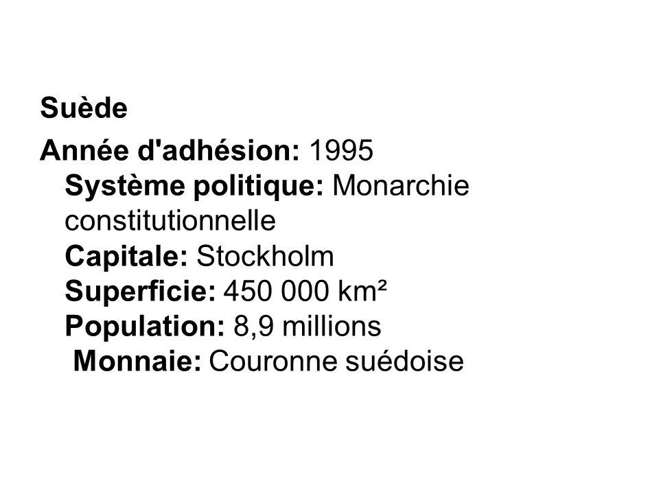 Suède Année d'adhésion: 1995 Système politique: Monarchie constitutionnelle Capitale: Stockholm Superficie: 450 000 km² Population: 8,9 millions Monna