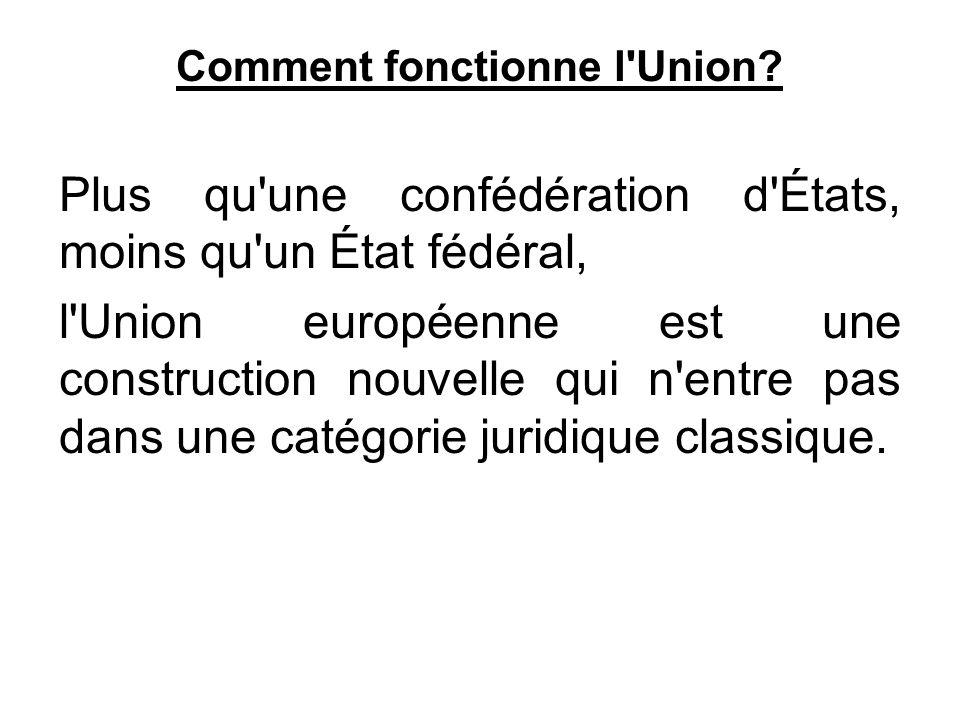Comment fonctionne l'Union? Plus qu'une confédération d'États, moins qu'un État fédéral, l'Union européenne est une construction nouvelle qui n'entre