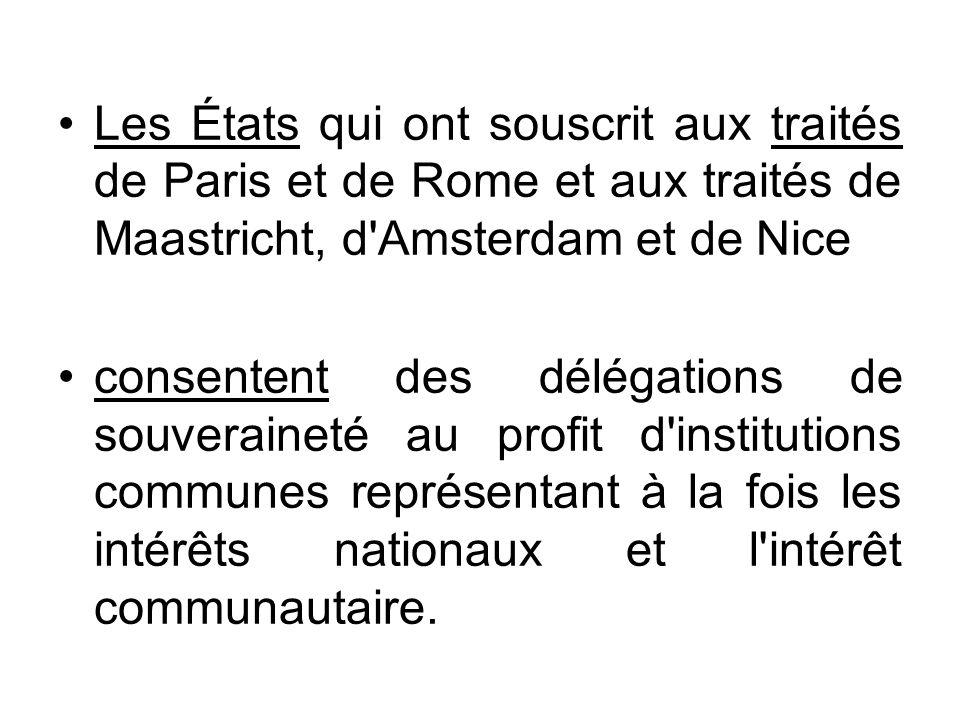 Les États qui ont souscrit aux traités de Paris et de Rome et aux traités de Maastricht, d'Amsterdam et de Nice consentent des délégations de souverai