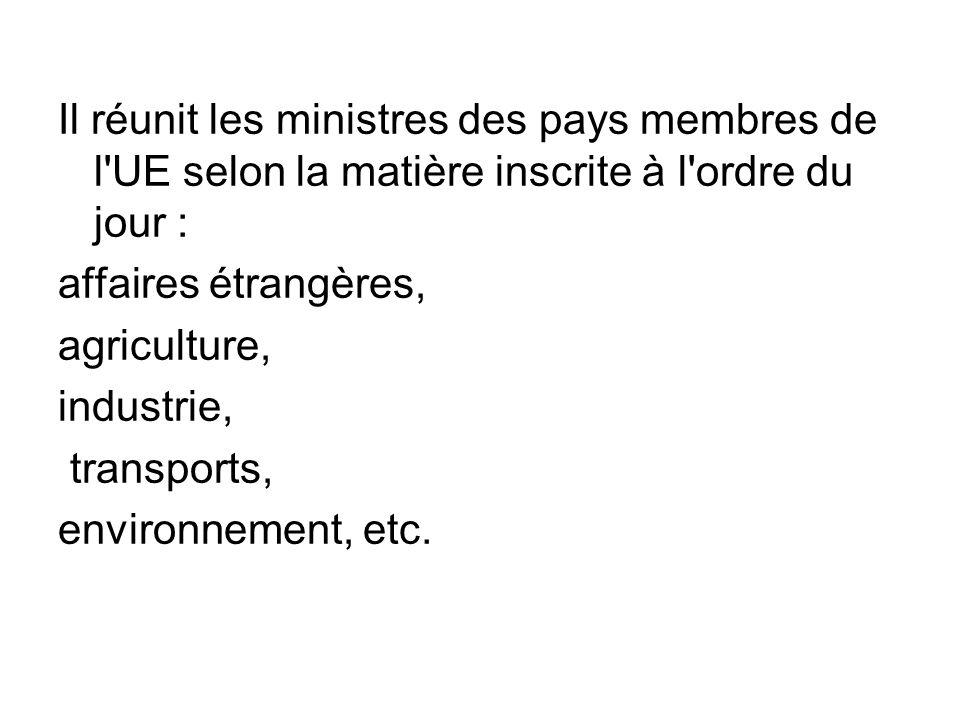 Il réunit les ministres des pays membres de l'UE selon la matière inscrite à l'ordre du jour : affaires étrangères, agriculture, industrie, transports
