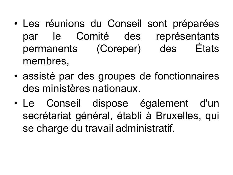 Les réunions du Conseil sont préparées par le Comité des représentants permanents (Coreper) des États membres, assisté par des groupes de fonctionnair