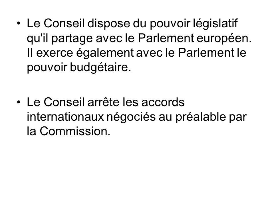 Le Conseil dispose du pouvoir législatif qu'il partage avec le Parlement européen. Il exerce également avec le Parlement le pouvoir budgétaire. Le Con