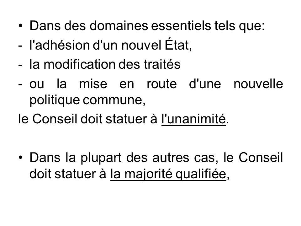 Dans des domaines essentiels tels que: -l'adhésion d'un nouvel État, -la modification des traités -ou la mise en route d'une nouvelle politique commun