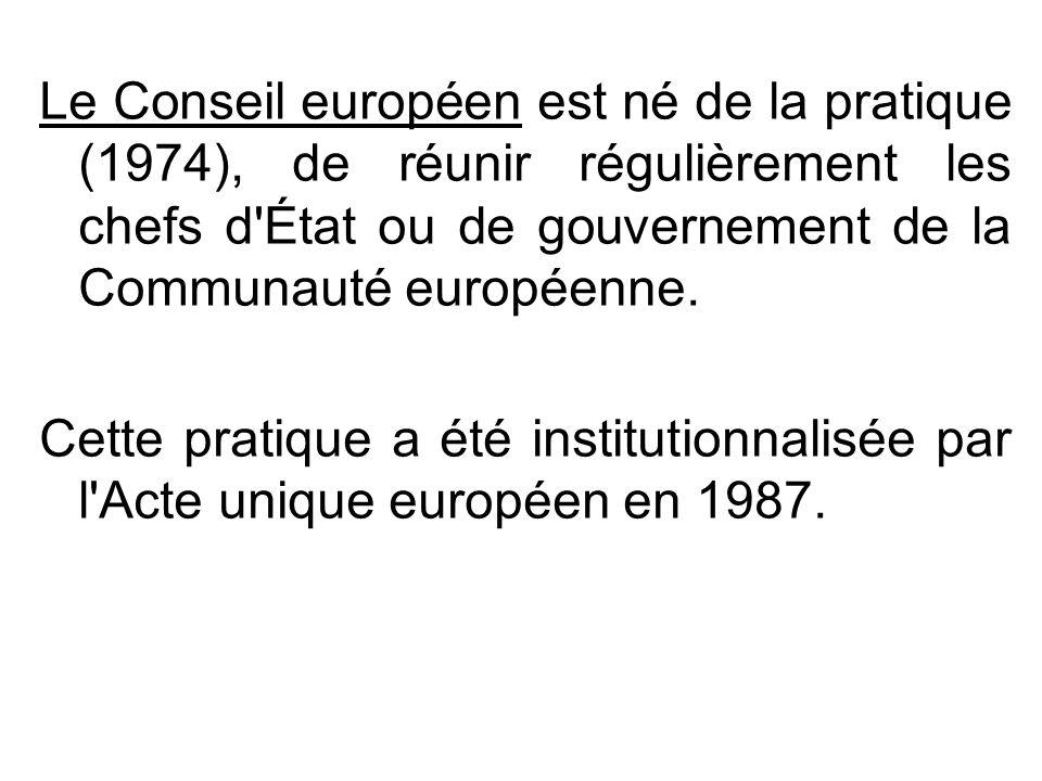 Le Conseil européen est né de la pratique (1974), de réunir régulièrement les chefs d'État ou de gouvernement de la Communauté européenne. Cette prati