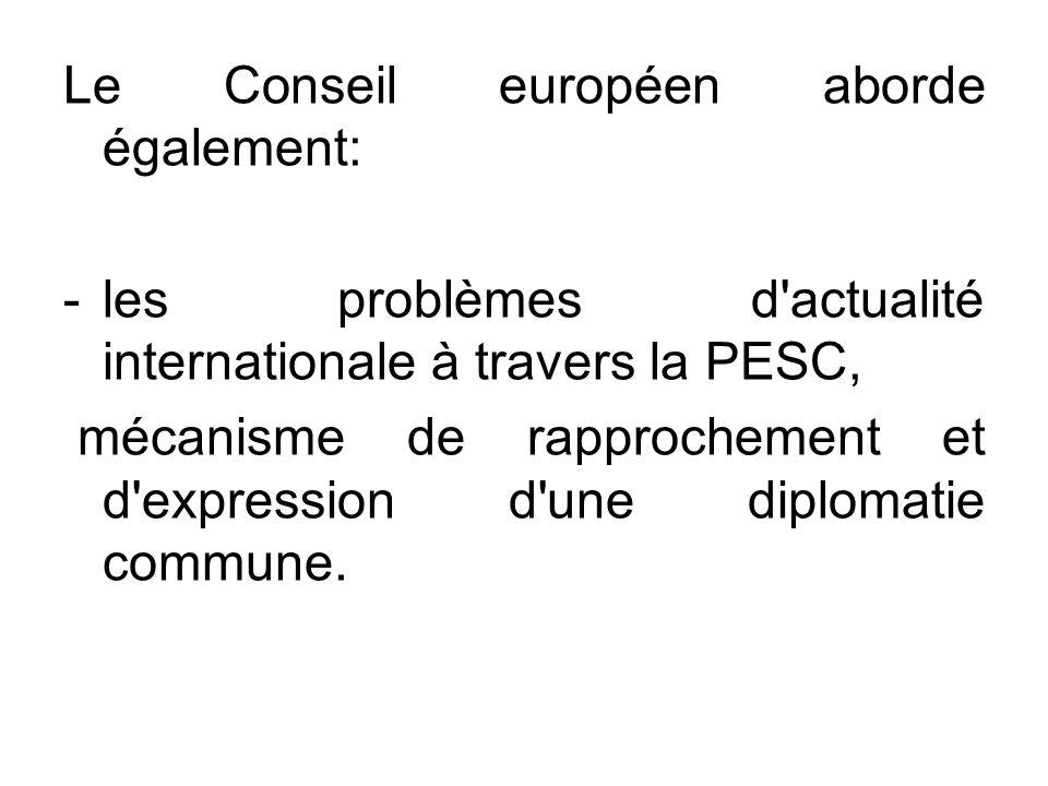 Le Conseil européen aborde également: -les problèmes d'actualité internationale à travers la PESC, mécanisme de rapprochement et d'expression d'une di