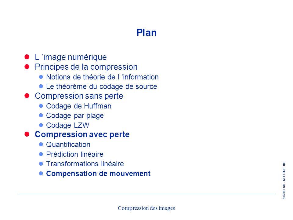 10/2003 SB – NEXTAMP 108 Compression des images Plan L image numérique Principes de la compression l Notions de théorie de l information l Le théorème
