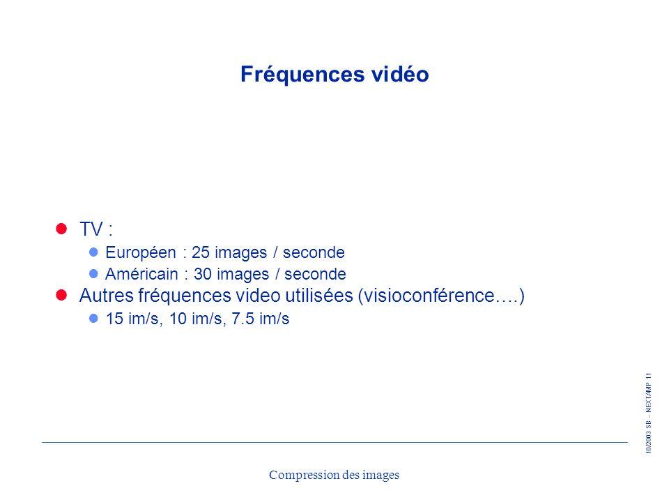 10/2003 SB – NEXTAMP 11 Compression des images Fréquences vidéo TV : l Européen : 25 images / seconde l Américain : 30 images / seconde Autres fréquen