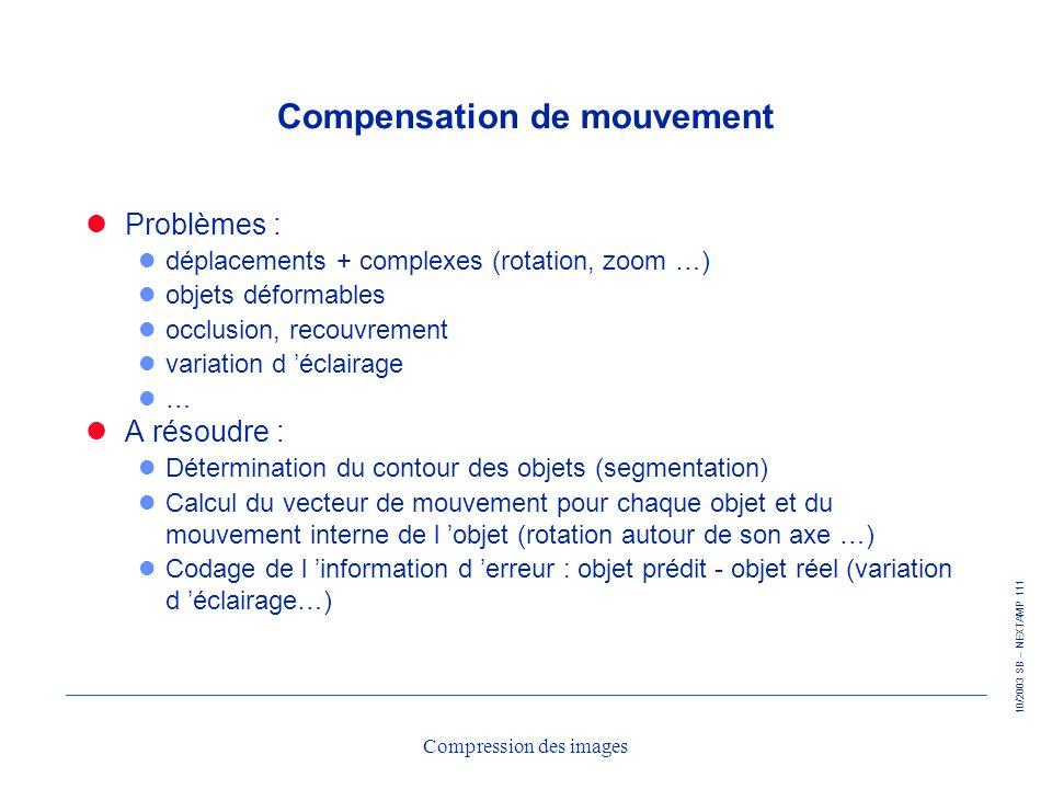 10/2003 SB – NEXTAMP 111 Compression des images Compensation de mouvement Problèmes : l déplacements + complexes (rotation, zoom …) l objets déformabl