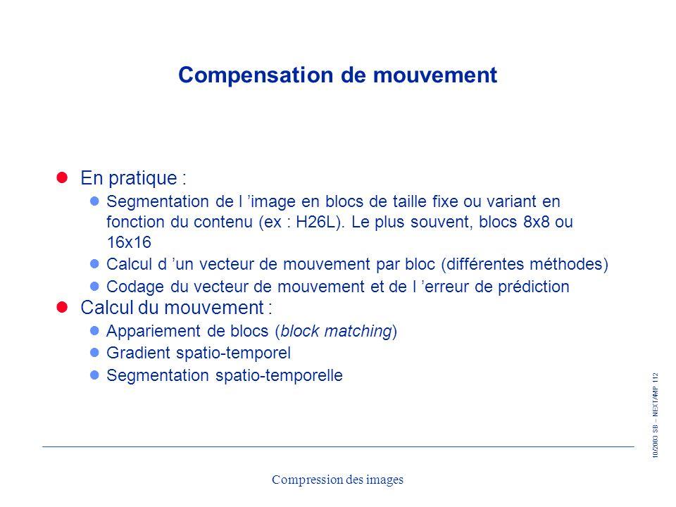 10/2003 SB – NEXTAMP 112 Compression des images Compensation de mouvement En pratique : l Segmentation de l image en blocs de taille fixe ou variant e