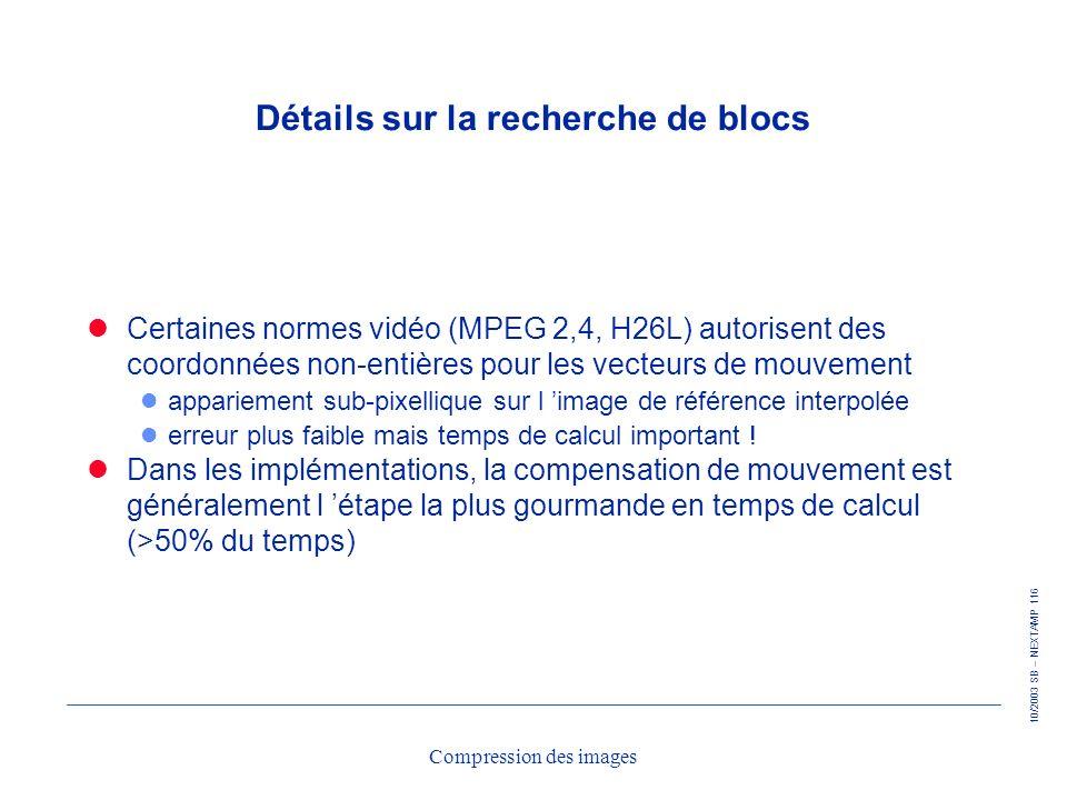 10/2003 SB – NEXTAMP 116 Compression des images Détails sur la recherche de blocs Certaines normes vidéo (MPEG 2,4, H26L) autorisent des coordonnées n