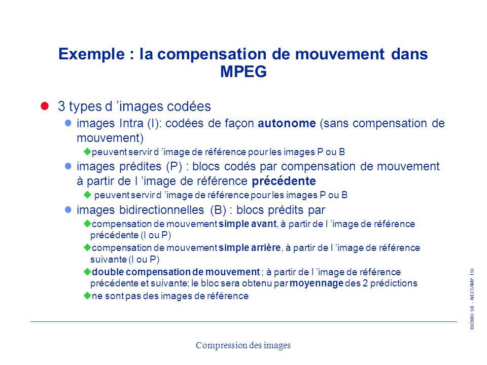 10/2003 SB – NEXTAMP 118 Compression des images Exemple : la compensation de mouvement dans MPEG 3 types d images codées l images Intra (I): codées de