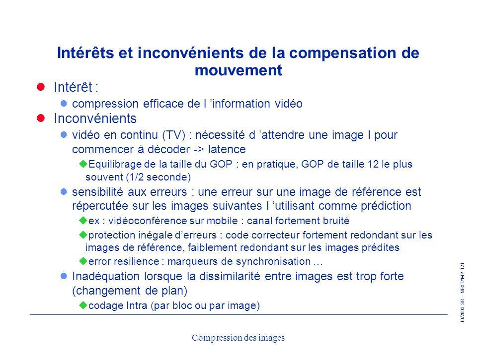 10/2003 SB – NEXTAMP 121 Compression des images Intérêts et inconvénients de la compensation de mouvement Intérêt : l compression efficace de l inform
