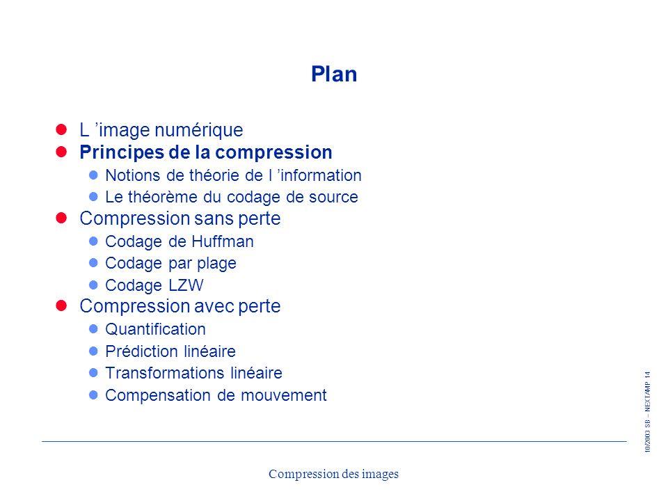 10/2003 SB – NEXTAMP 14 Compression des images Plan L image numérique Principes de la compression l Notions de théorie de l information l Le théorème