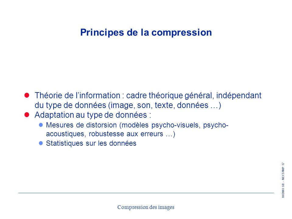 10/2003 SB – NEXTAMP 17 Compression des images Principes de la compression Théorie de linformation : cadre théorique général, indépendant du type de d