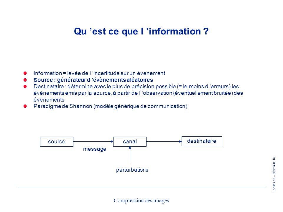 10/2003 SB – NEXTAMP 18 Compression des images Qu est ce que l information ? Information = levée de l incertitude sur un événement Source : générateur