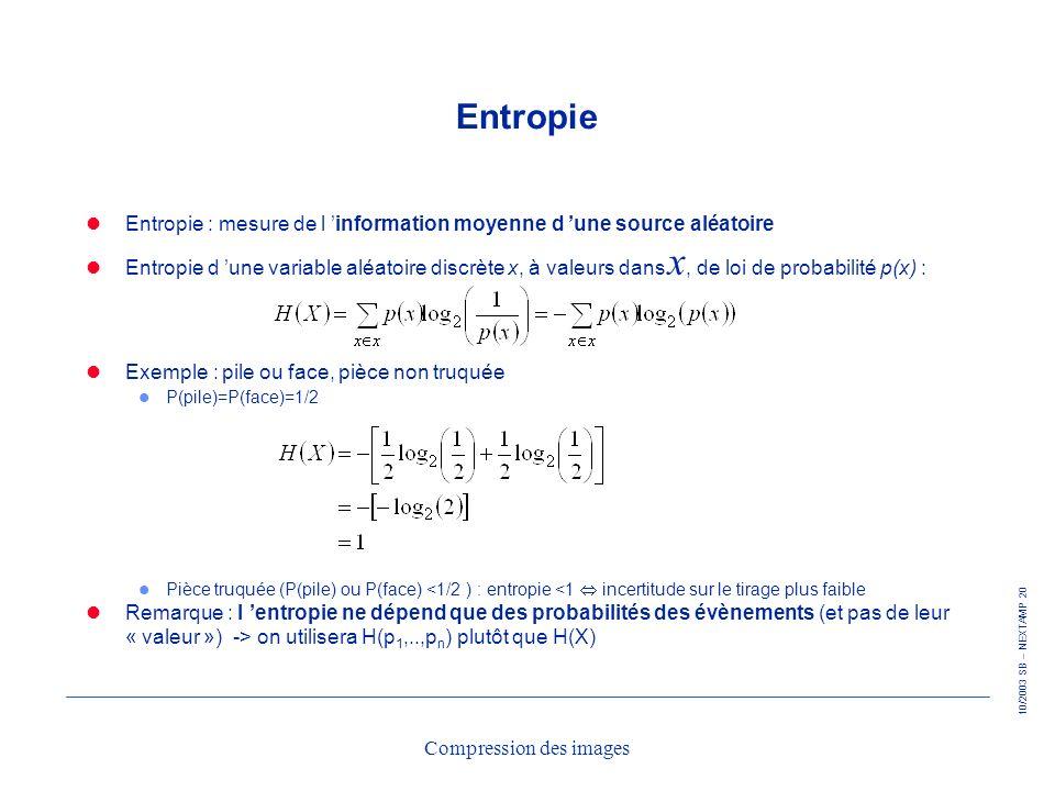 10/2003 SB – NEXTAMP 20 Compression des images Entropie Entropie : mesure de l information moyenne d une source aléatoire Entropie d une variable aléa