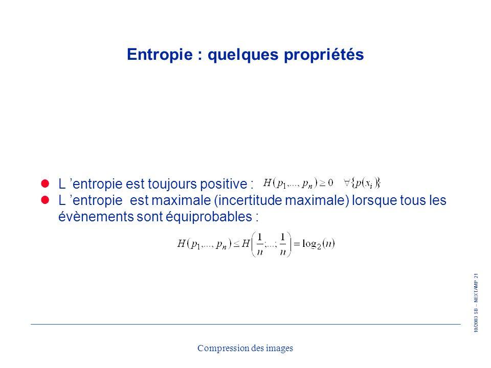 10/2003 SB – NEXTAMP 21 Compression des images Entropie : quelques propriétés L entropie est toujours positive : L entropie est maximale (incertitude