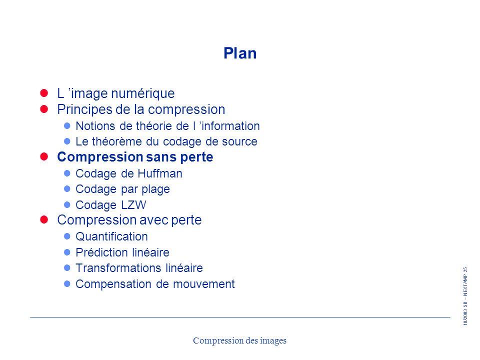 10/2003 SB – NEXTAMP 25 Compression des images Plan L image numérique Principes de la compression l Notions de théorie de l information l Le théorème