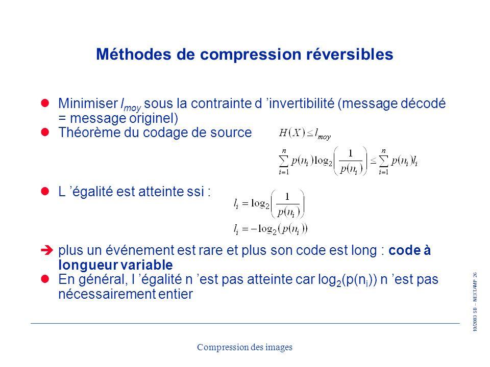 10/2003 SB – NEXTAMP 26 Compression des images Méthodes de compression réversibles Minimiser l moy sous la contrainte d invertibilité (message décodé