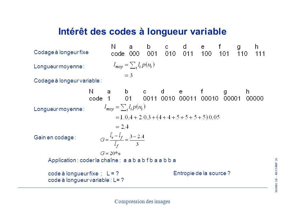 10/2003 SB – NEXTAMP 28 Compression des images Intérêt des codes à longueur variable Codage à longeur fixe Longueur moyenne : Codage à longeur variabl