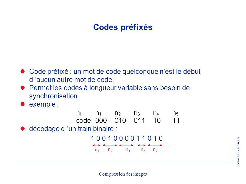 10/2003 SB – NEXTAMP 29 Compression des images Codes préfixés Code préfixé : un mot de code quelconque nest le début d aucun autre mot de code. Permet