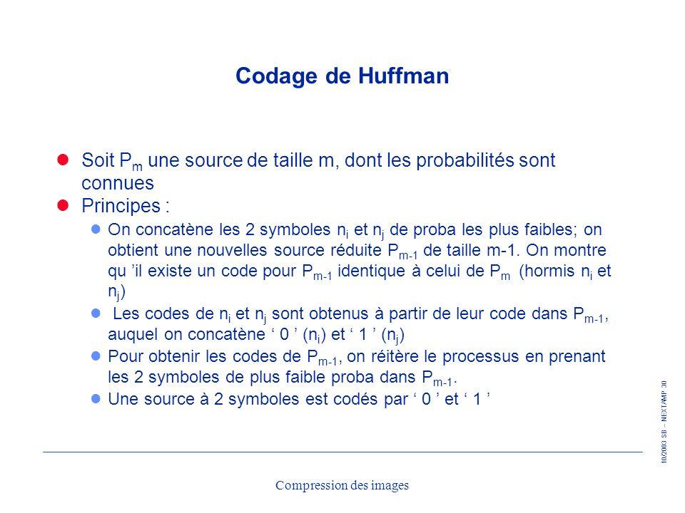 10/2003 SB – NEXTAMP 30 Compression des images Codage de Huffman Soit P m une source de taille m, dont les probabilités sont connues Principes : l On