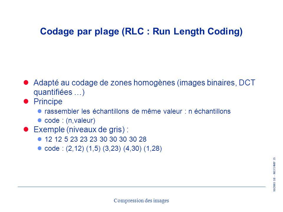 10/2003 SB – NEXTAMP 35 Compression des images Codage par plage (RLC : Run Length Coding) Adapté au codage de zones homogènes (images binaires, DCT qu
