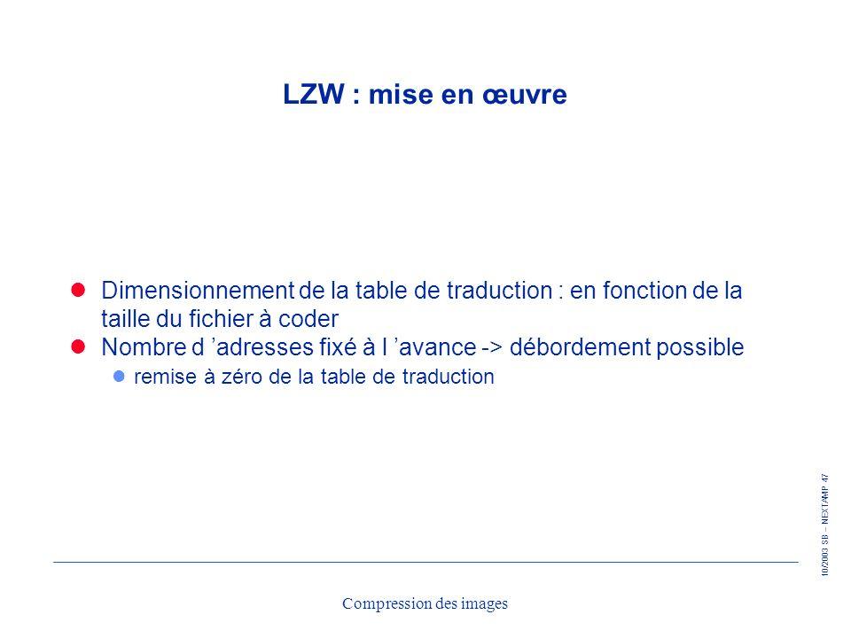 10/2003 SB – NEXTAMP 47 Compression des images LZW : mise en œuvre Dimensionnement de la table de traduction : en fonction de la taille du fichier à c