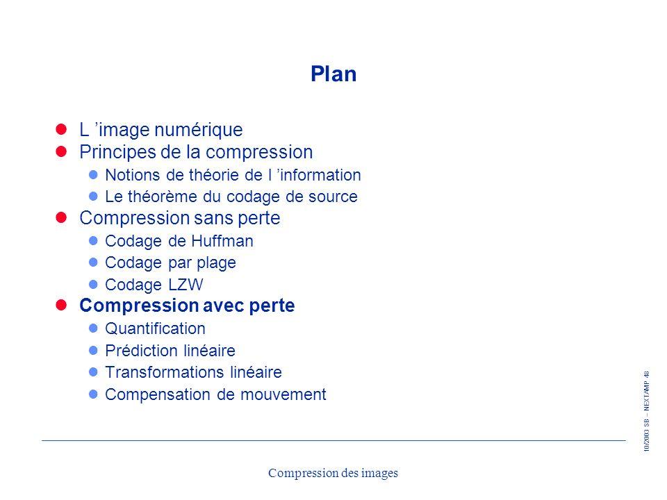 10/2003 SB – NEXTAMP 48 Compression des images Plan L image numérique Principes de la compression l Notions de théorie de l information l Le théorème