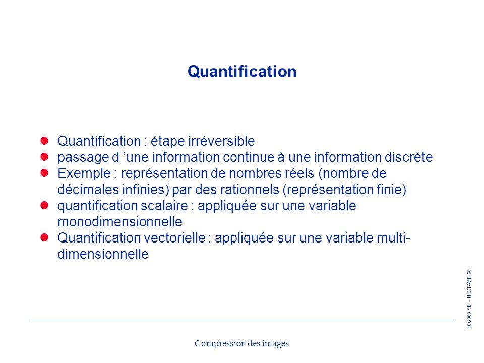 10/2003 SB – NEXTAMP 58 Compression des images Quantification Quantification : étape irréversible passage d une information continue à une information