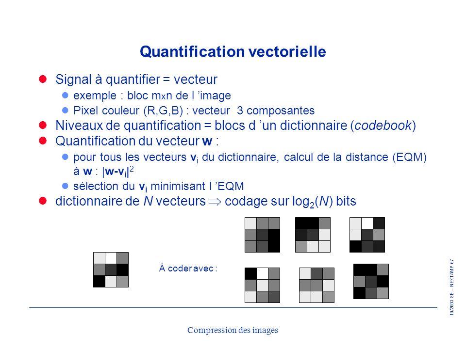 10/2003 SB – NEXTAMP 67 Compression des images Quantification vectorielle Signal à quantifier = vecteur l exemple : bloc m x n de l image l Pixel coul