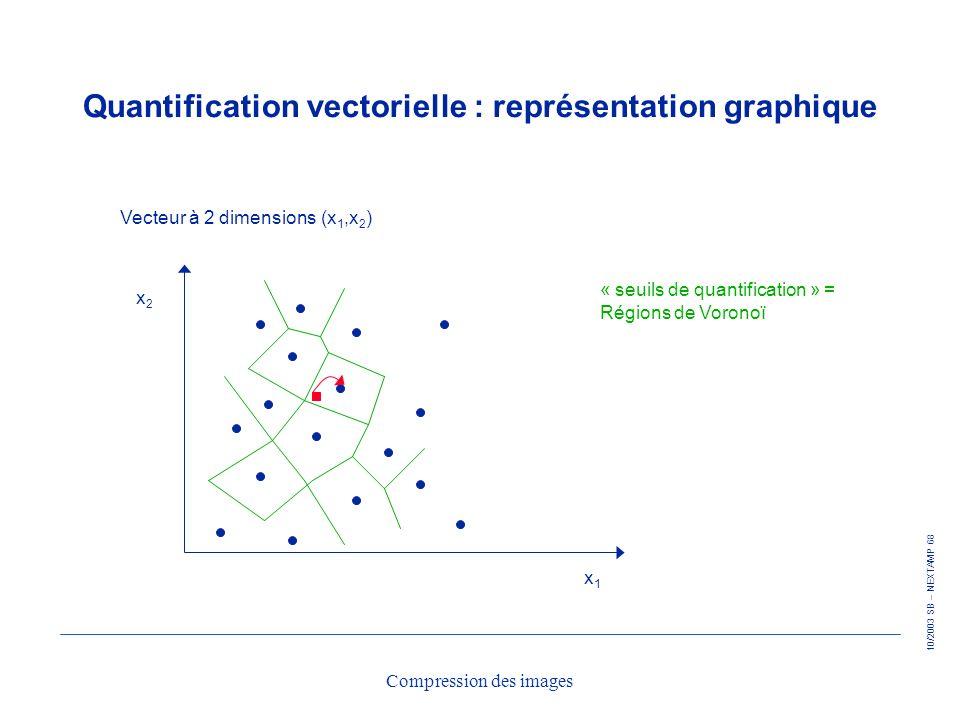 10/2003 SB – NEXTAMP 68 Compression des images Quantification vectorielle : représentation graphique Vecteur à 2 dimensions (x 1,x 2 ) x1x1 x2x2 « seu