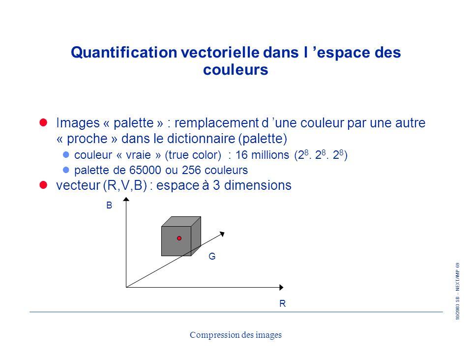 10/2003 SB – NEXTAMP 69 Compression des images Quantification vectorielle dans l espace des couleurs Images « palette » : remplacement d une couleur p