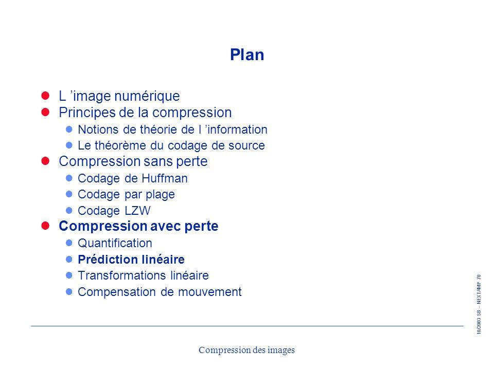 10/2003 SB – NEXTAMP 70 Compression des images Plan L image numérique Principes de la compression l Notions de théorie de l information l Le théorème