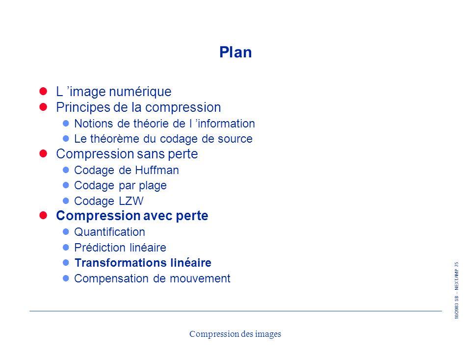 10/2003 SB – NEXTAMP 75 Compression des images Plan L image numérique Principes de la compression l Notions de théorie de l information l Le théorème