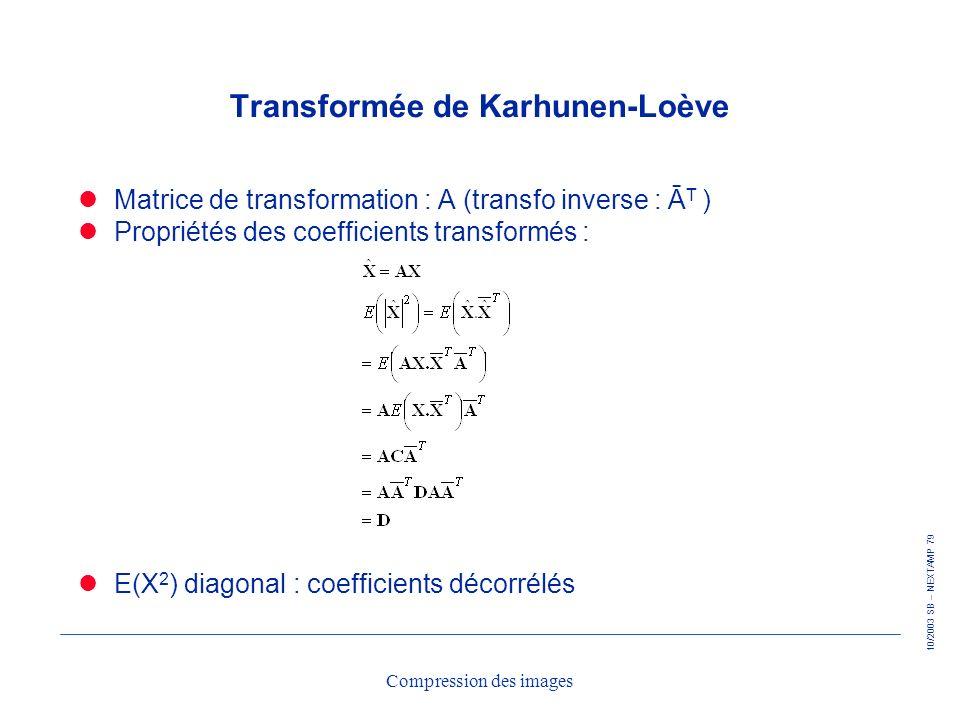 10/2003 SB – NEXTAMP 79 Compression des images Transformée de Karhunen-Loève Matrice de transformation : A (transfo inverse : Ā T ) Propriétés des coe