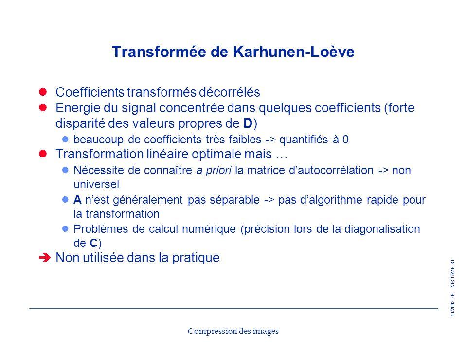 10/2003 SB – NEXTAMP 80 Compression des images Transformée de Karhunen-Loève Coefficients transformés décorrélés Energie du signal concentrée dans que