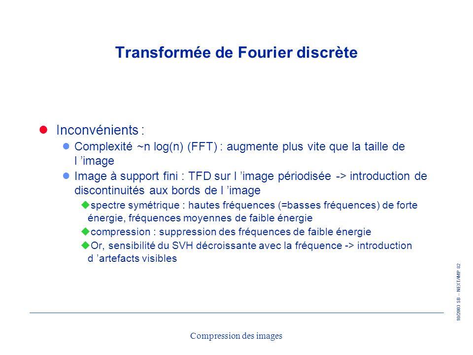 10/2003 SB – NEXTAMP 82 Compression des images Transformée de Fourier discrète Inconvénients : l Complexité ~n log(n) (FFT) : augmente plus vite que l