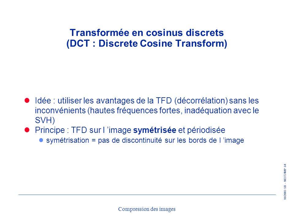 10/2003 SB – NEXTAMP 84 Compression des images Transformée en cosinus discrets (DCT : Discrete Cosine Transform) Idée : utiliser les avantages de la T